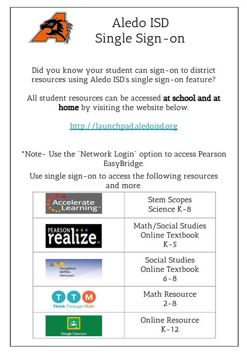 Aledo ISD Single Sign-On Instructions