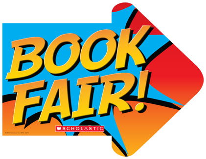 Arrow with Book Fair - Scholastic written on it