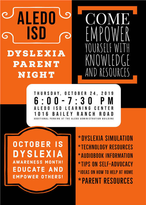 Dyslexia Parent Night Oct. 24, 2019