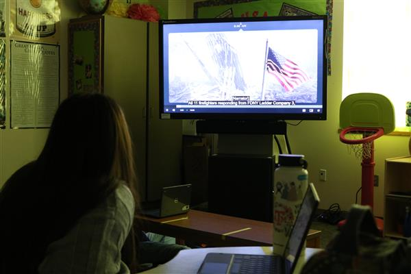 Student watches video of attacks on 9/11